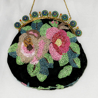 Vintage Beaded Celluloid Jeweled Purse Roses.