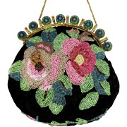 Vintage Beaded Celluloid Jeweled Purse Roses.