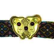 Vintage Art Nouveau Deco Micro Beaded Belt with Ornate Jeweled Brass Buckle.