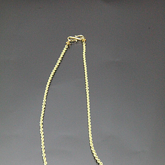 18 Karat Gold Handmade Textured 2.4 mm Round Cable Chain Necklace 18 Inch