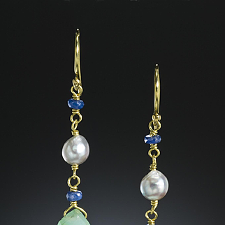 18 Karat Gold Peruvian Opal, Akoya Cultured Pearl, and Sapphire Earrings