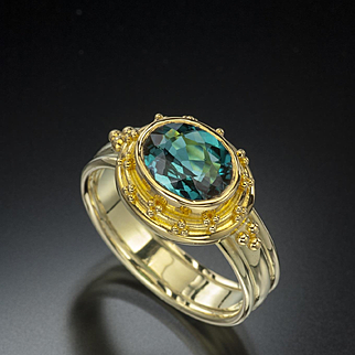 1.81 Ct Indicolite Tourmaline 18 Karat Gold Ring