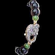 Bracelet 9ct Gold Diamond Ruby Elephant Clasp With Nephrite Jade & Onyx Beads