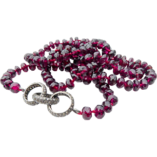 Garnet & Pave Diamond Necklace Hand-Knotted on Maroon Silk