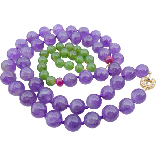 Amethyst & Nephrite Jade Necklace With Beautiful Clasp & Rubies