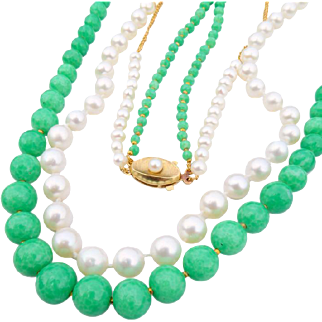 Vintage Double Strand Pearl & Peking Glass Necklace with Vintage Clasp