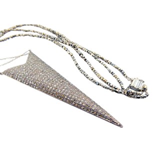 Necklace Micro Pave Diamond Pendant Necklace With Vintage Beads and Clasp