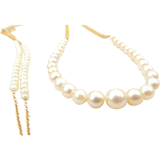 14k Gold Filled Chain Necklace with Vintage Creamy Graduated Pearls