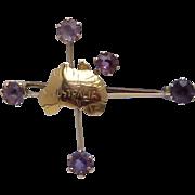 Antique Edwardian 9 Karat Gold Australia Southern Cross Amethyst Brooch