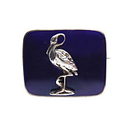 Antique Silver and Cobalt Blue Enamel Stork Brooch