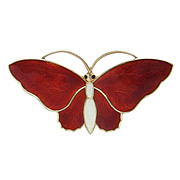 Red Guilloche Enamel Butterfly Brooch Aksel Holmsen Norway