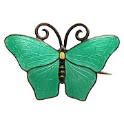 Green Guilloche Enamel Butterfly Brooch Kristian M Hestenes Norway Sterling Silver Norwegian
