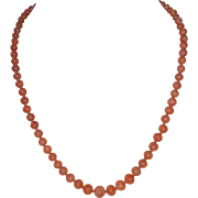 Graduated coral bead necklace