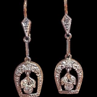 Edwardian platinum and 18 karat old mine cut diamond earrings c. 1915