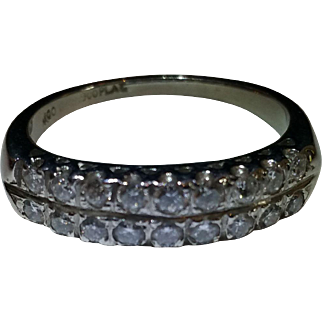 Platinum retro two row diamond ring 1/2 carat tw. c.1945