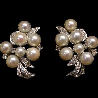 Pearl and diamond cluster earrings c1955