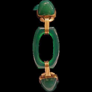 14 karat yellow gold Art Deco green onyx bracelet