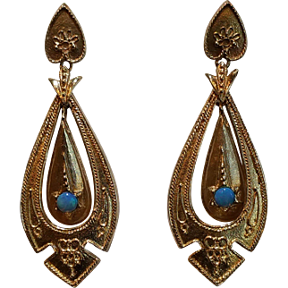 14 karat yellow gold and opal Victorian revival earrings c. 1950