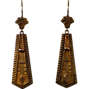 15 karat yellow gold Etruscan Revival earrings c. 1870
