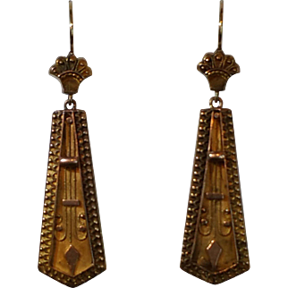 15 karat yellow gold Etruscan Revival earrings c. 1870