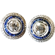 Platinum, diamond, and french cut sapphire Art Deco earrings c. 1920