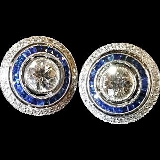 Platinum, diamond, and french cut sapphire Art Deco earrings c. 1920