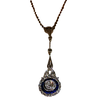 Edwardian diamond and sapphire pendant c.1915