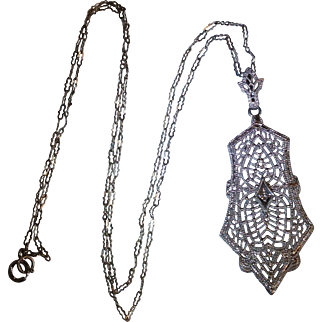 10 karat white gold Filigree pendant  c.1930