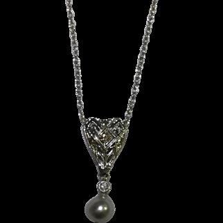 Deco 14karat filigree diamond and pearl pendant c. 1925