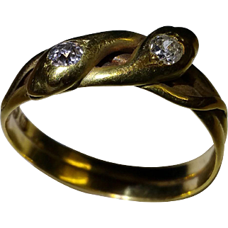 Victorian double snake ring with old mine cut diamonds c. 1880
