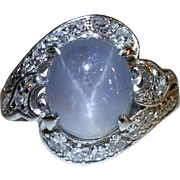 Plat star sapphire ring in deco diamond mounting