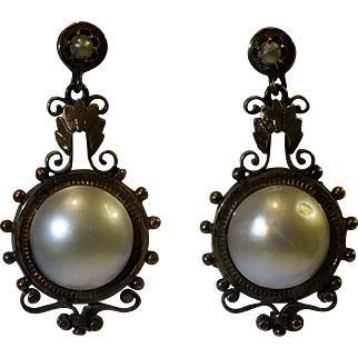 14 karat yellow gold mabe pearl Victorian earrings
