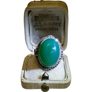 Deco Green Chalcedony and Marcasite ring c.1920
