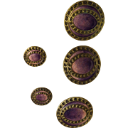 5 Purple Enamel and Brass Buttons