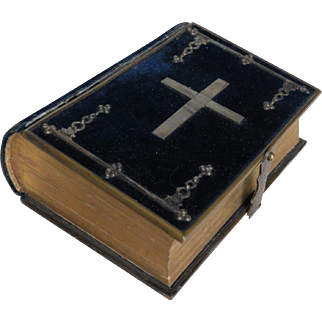 Antique French Blue Velvet and Silver Covered Prayer Book