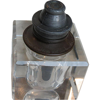 Heavy Glass Davis Automatic Ink Well with Pewter Top