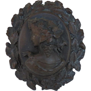 Highly Dimensional Vulcanite Pin of a Lady with Grapes