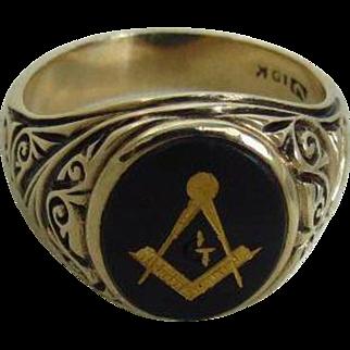 Man's 10K Yellow Gold and Bloodstone Masonic Ring