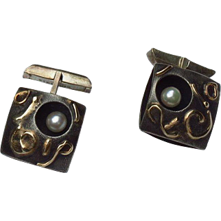 Jean Lasnier Sterling Cufflinks with Cultured Pearls