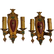 Pair of Cast Iron Painted Regency Style Wall Sconces