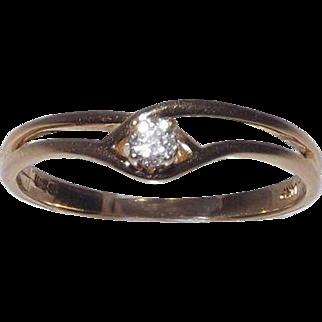 Sweet 14 Kt Yellow Gold 3/16 Carat Diamond Ring Size 8.5