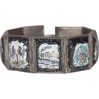 Paneled Enamel Bracelet With Animals 8 Panels