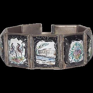 Paneled Enamel Bracelet With Animals 8 Panels