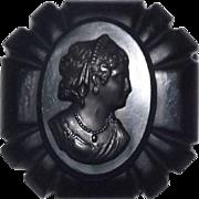 Large Black Cameo Carved Bakelite Brooch