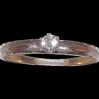 Wonderful 14 Kt Yellow Gold 1/4 Carat Diamond Ring Size 10.25