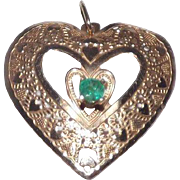 Sweet 14 Kt Yellow Gold & Natural Emerald Heart Pendant