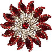 Amazing Red and Clear Rhinestone Pinwheel Brooch