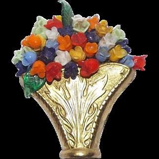Lovely Glass Flowers Filled Gold Tone Basket / Vase