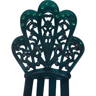 Lovely Green and Rhinestones 3 Tine Hair Comb