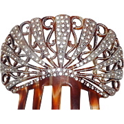 Lovely Large Rhinestones and Silver Tone Beads 5 Tine Hair Comb